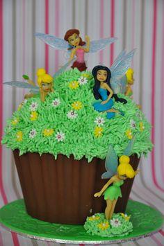 Giant Cupcake Cakes, Large Cupcake, Pirate Fairy Cake, Fairy Birthday Cake, Birthday Ideas, Birthday Cakes, Happy Birthday, Chocolate Giant Cupcake, Fairy Cupcakes
