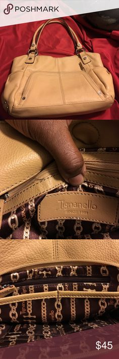 Tignanello tan leather bag w/built in wallet Genuine leather, Tignanello tan bag.  Front attached wallet w/ credit card slots, two side pockets, 3 compartments inside, lining in excellent condition.  Beautiful bag! Tignanello Bags Satchels