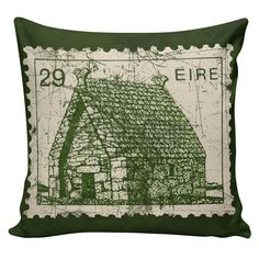 St. Patrick's Day Pillow Ireland Pillow by ElliottHeathDesigns - Love stamps and this is a great pillow!