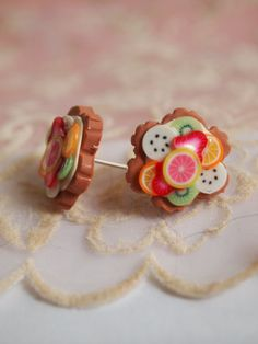 Fruit tart earrings Polymer clay by timeforteabeads on Etsy, $7.95