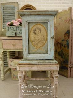 Small distressed cupboard Shabby blue decorated, Little victorian girl, Medallion,, Furniture for dollhouse in 1:12th scale