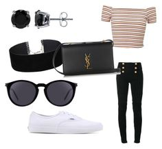 """Untitled #36"" by tytiana-ransom on Polyvore featuring Balmain, Miss Selfridge, Vans, BERRICLE and Yves Saint Laurent"