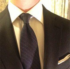 Sam Hober Tie: White On Midnight Blue Pin Dot Grenadine Tie 1 http://www.samhober.com/grenadine-grossa-pin-dot-silk-ties/