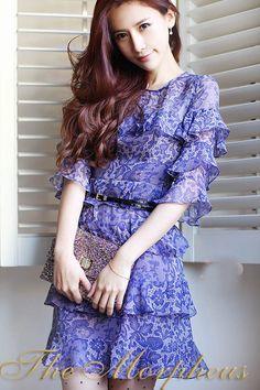 Morpheus Boutique  - Navy Blue Lace Flora Trendy Layer Hemline Celebrity  Dress