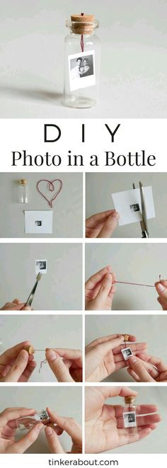 DIY Tiny Photo/Message in a Bottle as an Anniversary Gift Idea! - - DIY Tiny Photo/Message in a Bottle as an Anniversary Gift Idea! DIY Tiny Photo/Message in a Bottle as an Anniversary Gift Idea! Diy Valentines Gifts For Him, Easy Diy Christmas Gifts, Diy Gifts For Him, Easy Gifts, Anniversary Gift Ideas For Him Boyfriend, Diy Birthday Gifts For Him, Diy Gifts Small, Diy Gifts Creative, Diy Gifts For Boyfriend Christmas