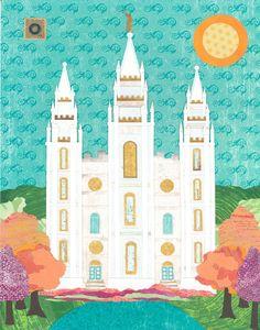 Salt Lake City, Utah LDS Temple Bright Print. $20.00, via Etsy.