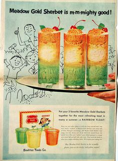 1956 Meadow Gold Sherbet ad w/ Mary Blair Ice Cream carton pictured