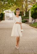 Image of Cotton Lace Casual Wedding Dress - M, or Made to Order - Long Sleeves, Knee Length, Swing Skirt