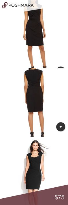 Calvin Klein Petite Sheath Dress Gorgeous and classy black sheath with unique cut-out neckline, ruching, and cap sleeves.  Size 4P.  As of May 2017, this dress is still selling for $90+ at Macy's, Dillard's, Lord &a Taylor, etc. Calvin Klein Dresses Midi