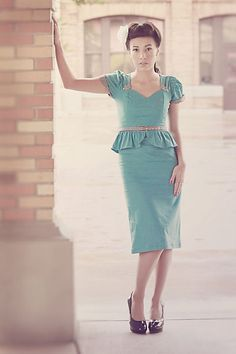 CLEARANCE any size Nicole Katherine Pinup Dress Rockabilly Gingham Suit Dress turquoise Mad Men. $86.00, via Etsy.