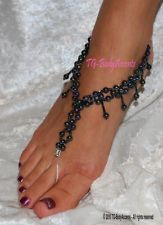 Barefoot Sandals - Foot Jewelry - Beach Wedding - Anklets - Black AB FJ-067  better prices