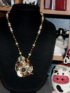 Earth Tones  Vintage earrings in one beautiful pendant.