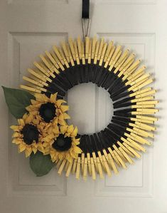 Pretty Spring / Summer Wreath made with hand painted clothes pins. So pretty inside or outside, no door or outside patio space wall. Handmade by PaigeCreationsNmore NOTE: These are made to order, so designs may vary slightly Measures: 22 round