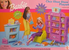 Vtg Mattel Barbie Chic Shoe Store Playset Toy 2001 New Old Stock Sealed Mattel Barbie, Old Barbie Dolls, Baby Barbie, Barbie Sets, Barbie Doll House, Bratz Doll, Barbie Dream, Barbie Clothes, Barbie Life