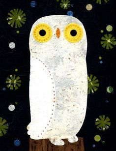 Starry Night Owl by Kate Endle. 25.00, via Etsy. #owl #collage