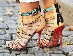 Red Snakeskin strappy heels #DROOOOL