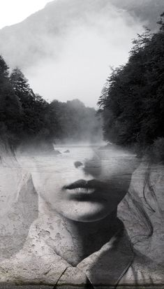 "Antonio Mora - ""la dame del lago"", (The Lady of the Lake) double exposure photography Double Exposure Photography, Passion Photography, Photo D Art, Multiple Exposure, Jolie Photo, Photo Manipulation, Black And White Photography, Portrait Photography, Surrealism Photography"