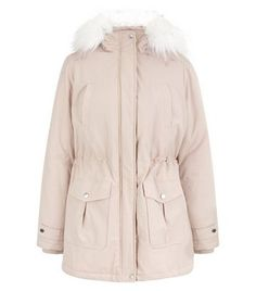 Pink Faux Fur Trim Hooded Parka