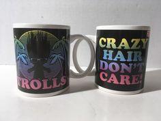 Set Of Two New Trolls Crazy Hair Don't Care! ZAK Designs Inc. Coffee Mugs Cups #ZAKDesigns #trolls #troll #crazyhair #crazyhairdontcare #zak #zakmug #trollsmug #beach #palmtree #80sfeel #NEW #feeling80s #channeling80s
