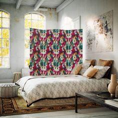 Parawan pokojowy kolorowe kwiaty paros 01 print aa1 - tkaninowy dwustronny