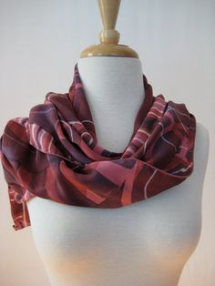 Deep Rose, Petal Pink and Wine , Silk Charmeuse, Silk Screen Shawl. Soft, elegant and luxurious. by Dianne Koppisch Hricko