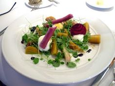 Beet Salad with Pea Shoots and Goat Cheese