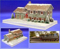 Little Glitter Houses Photo Gallery - Howard Lamey - Picasa Web Albums Box Houses, Putz Houses, Paper Houses, Cardboard Houses, Mini Houses, Christmas Minis, Christmas Home, Christmas Ideas, Christmas Crafts
