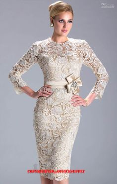 Wholesale Champagne Long Sleeved Knee Length Lace Evening Dress Mother of the Bride Gown with Band N3396, Free shipping, $100.8-119.84/Piece | DHgate