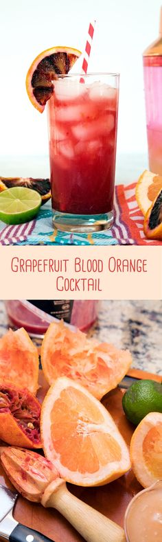 Winter citrus fruits make this Grapefruit Blood Orange Cocktail a stunningly colorful and delicious drink. It's both refreshing and warming! Winter Cocktails, Summer Drinks, Beach Cocktails, Craft Cocktails, Cocktail And Mocktail, Cocktail Recipes, Blood Orange Cocktail, Easy Drink Recipes, Appetizer Recipes