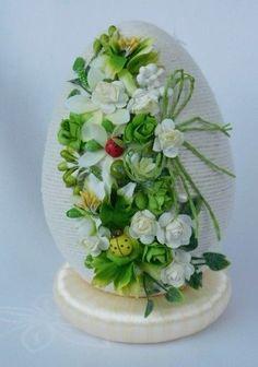 Egg Crafts, Easter Crafts, Decor Crafts, Diy And Crafts, Flower Decorations, Christmas Decorations, Quilling 3d, Kanzashi, Egg Art