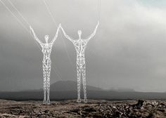 Boston firm, Choi + Shine Architects, received an Honorable Mention in Iceland Transmission Line Design Competition as well as Boston Society of Architects Unbuilt Category for their Land of Giants entry, which transforms the pylons into giant men and women who carry the weight of the grid on their shoulders.
