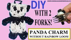 PANDA CHARM figurine With two forks without Rainbow Loom Tutorial. (Mini...