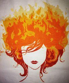 Fire Girl Cross Stitch by Sintel16