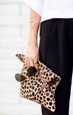 Leopard clutch and triangle bangle