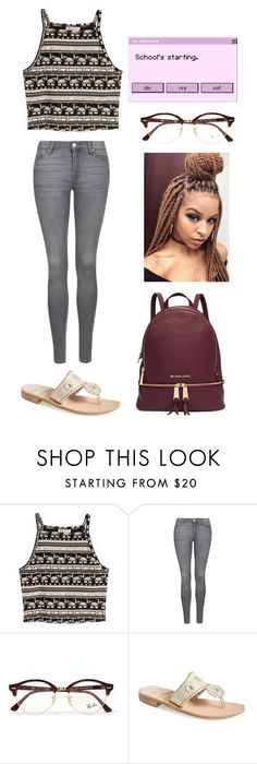 """Untitled #1029"" by qveenkyndall16 ❤ liked on Polyvore featuring Topshop, Ray-Ban, Jack Rogers and Michael Kors"