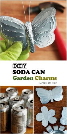 Turn empty soda cans into adorable garden charms! You've got lots of free craft materials in your recycle bin. See how to make these butterflies, flowers, birds, bees, plant tags, and more with this easy tutorial. #sponsored