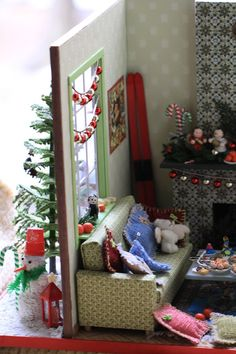 roombox 1:12, miniature 1:12, doll house, akvareel, румбокс рождественский, Christmas