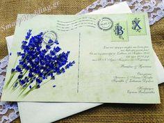 Προσκλητήριο γάμου vintage καρτ - ποστάλ με λεβάντα