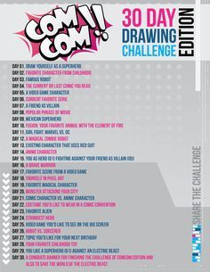 30 Day Drawing Challenge Edition by AndrewSketches on DeviantArt, COMCOM! 30 Day Drawing Challenge Edition by AndrewSketches on DeviantArt, COMCOM! 30 Day Drawing Challenge Edition by AndrewSketches on DeviantArt, 30 Day Drawing Challenge, 30 Day Challenge, Drawing Prompt, Drawing Tips, Drawing Drawing, Drawing Ideas, Drawing Journal, Drawing Faces, Drawing Reference