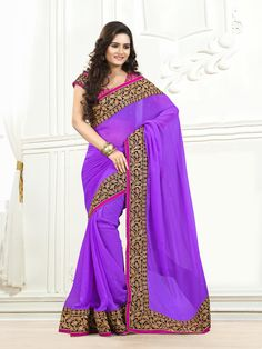Purple with golden embroidery #partywearsaree
