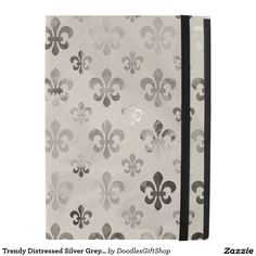 Trendy Distressed Silver Grey Fleur De Lis Pattern