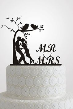 Wedding Cake Topper Silhouette, Bride and Groom Acrylic Design, Mr and Mrs Monogram Cake Toppers, Love Tree A601