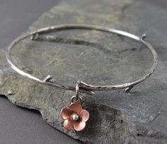 Cherry Blossom Branch Bangle -metalsmithing, ~Great store! Cute metal work :)