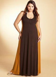 Vestido Longo Mostarda/Marrom Frente Única - Quintess