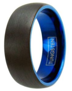 Mens tungsten carbide ring with a black brushed top finish and a blue interior. This 8mm Black & Blue Brushed Tungsten Wedding Band Is Extremely Durable. Free Shipping!