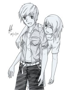 pencil drawing boy and girl best friends - Google Search