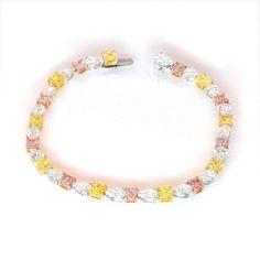 Leibish & Co. Fancy Intense Purplish Pink diamond bracelet.