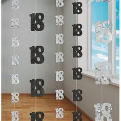 18th Birthday Party Black & Silver Glitzy Hanging Decorations - Pink Frosting Party Supplies