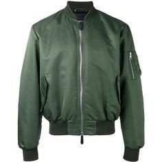 J.W.Anderson arm zip bomber jacket (3,930 ILS) ❤ liked on Polyvore featuring men's fashion, men's clothing, men's outerwear, men's jackets, green, mens zip jacket, mens green bomber jacket, mens green jacket and mens zipper jacket