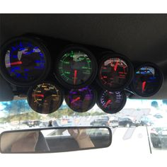 Douglas's Custom Gauge Cluster including: 100PSI Oil Pressure, 300°F Oil Temperature, 100PSI Fuel Pressure, 60PSI Boost, 300°F Oil Temperature, 300°F Transmission Temperature, and 1500°F Exhaust Gas Temperature Gauges!